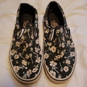Vans Black and White Floral Slip Ons